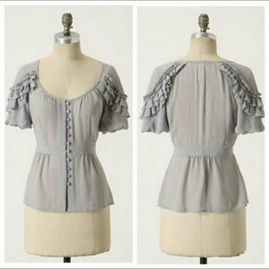 NWT Anthro Floreat Gray Ruffle Button Up Blouse